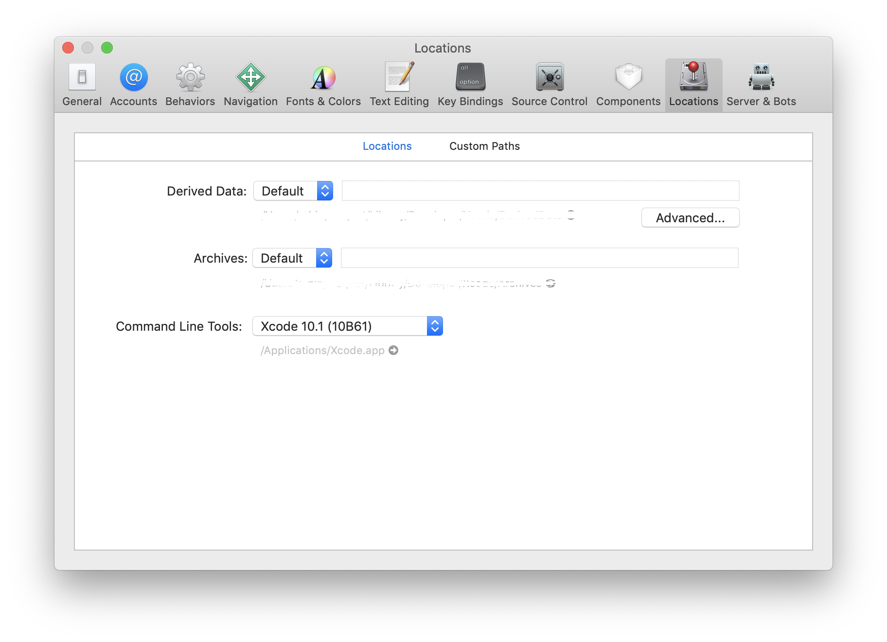 locations xcode preference